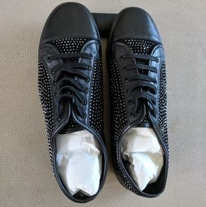Size 12 black leather sparkly studded